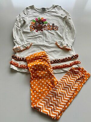 Bonnie Jean Girls Thanksgiving Outfit White Long Sleeve Dress Orange Pants 6X
