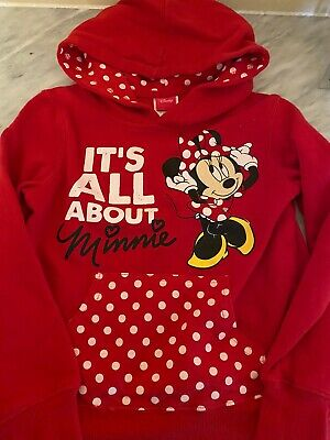 Disney Minnie Mouse Love Red Pullover Hoodie Girls M 7-8