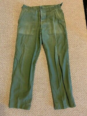 Vintage US Army OG107 Field Utility TROUSERS PANTS Vietnam Era 30 x 28 Fatigues