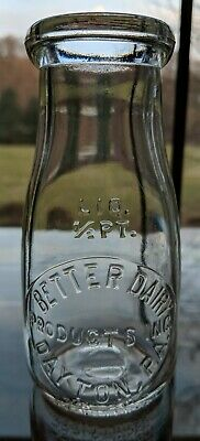Half pint Better Dairy Products Inc Dairy Milk Bottle Dayton PA Armstrong County