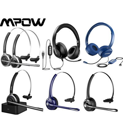 Mpow Truck Driver Bluetooth Office Computer Headset Wireless/Wired Headphones