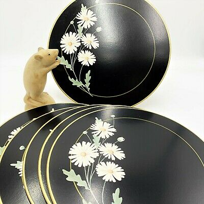 Set x 6 Jason DAISY ON BLACK Round Corkbacked Placemats, with Orig Box
