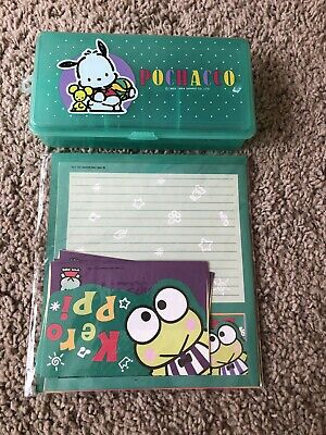 Vtg Sanrio Pochacco Green Plastic Pencil Case School Box 1994 W Tray Keroppi Set
