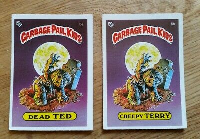 Garbage Pail Kids Dead Ted 5a & Creepy Terry 5b Topps Cards 1985 Matte UK Mini