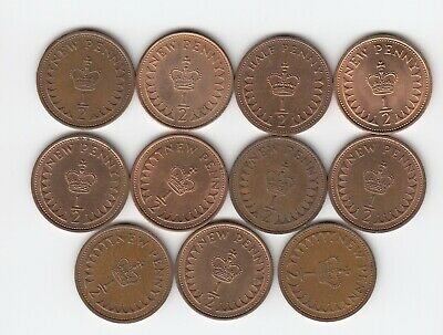 1971 to 1982 Set of 1/2pennys (Not 1972) Mixed Condition Very Nice Coins  (5089)