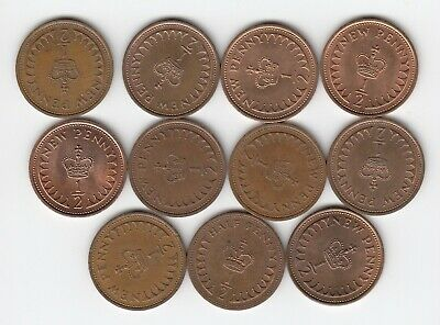 1971 to 1982 Set of 1/2pennys (Not 1972) Mixed Condition Very Nice Coins  (5093)