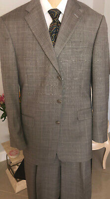 Hart Schaffner Marx 1887 Mens 3 Button Suit Gray Check 42R