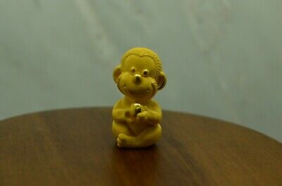24K Yellow Gold Chinese Feng Shui Hollow Figurine -Year Of The Monkey
