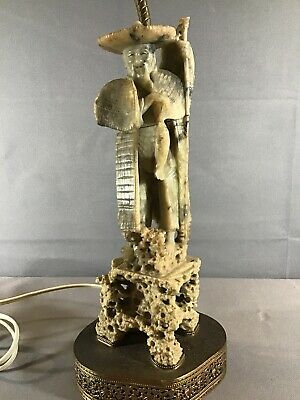 Real Antique CHINESE CARVED SOAPSTONE Figure Fisherman Lamp Estate Find