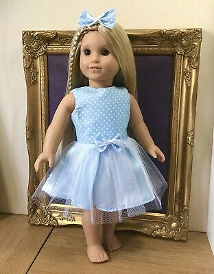 American Girl Our Generation New Sky Blue Polka Tutu Dress 18 Inch Doll Clothes