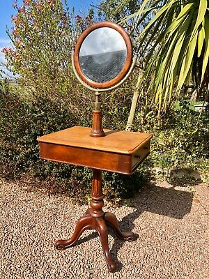 Antique Victorian Mahogany Captains Table/ Shaving Stand Adjust Mirror 2 Draws
