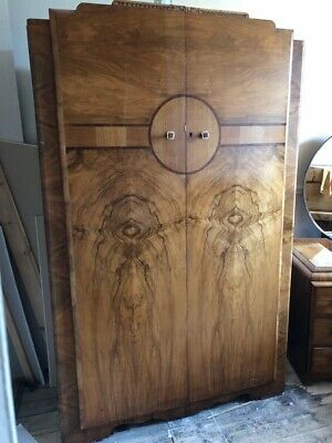 ART DECO Bedroom Furniture Set Circa 1930's Walnut Veneer