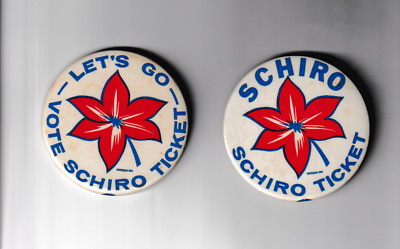 """2 - 1962/65 Victor Schiro for Mayor New Orleans Louisiana Cello 3"""" Buttons Pins"""