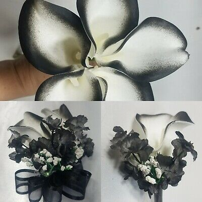 Ivory Calla Lily Gold Baby Breath Bridal Wedding Bouquet /& Boutonniere