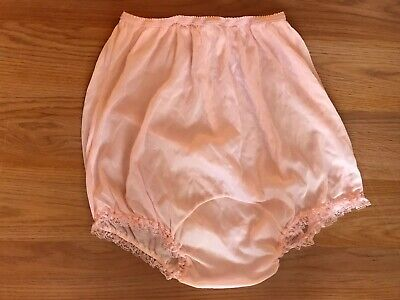 Vintage  Lingerie Panty With Lace trim Petipants Pink Sleepwear Size M