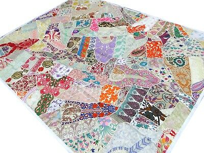 Patchwork White Quilt Single India Bed cover Handmade Bedspread Vintage Patches