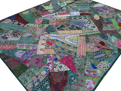 Patchwork Quilt Bed cover King Dark Green Handmade Vintage Patches India Boho
