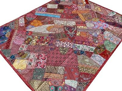 Quilt Patchwork Single Indian Bed Cover Burgundy Handmade Vintage Patches Boho B