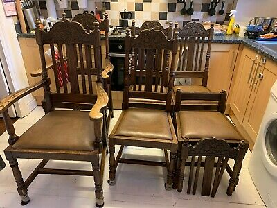 antique dinning chairs 6 and child's armchair for restoration