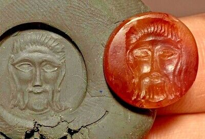 EXTREMELY RARE ANCIENT GREEK CIRCA 300-100 BC CARNELIAN STONE, SEAL 2.8gr 18.8mm