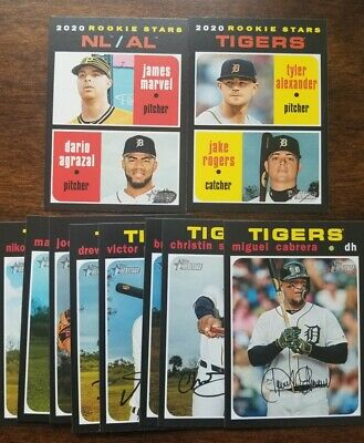 DETROIT TIGERS 2020 Topps HERITAGE Base TEAM SET-10 CARDS w/ RCs