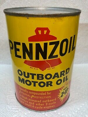 Pennzoil Outboard Motor Quart Oil Can...All Metal...FULL