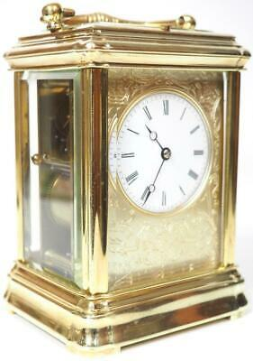 Fine Antique Repeater Carriage Clock Gorge Case French 8 Day Repeat Mantel Clock