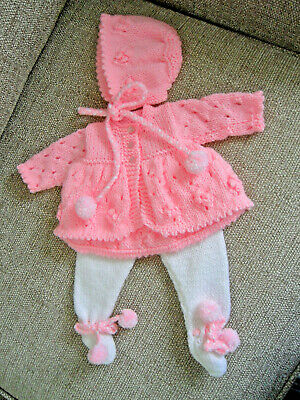 "#140 Doll Prem Baby Girl H14//16/"" 18//20/""Coat Dress Bootees Hat  Knitting Pattern"