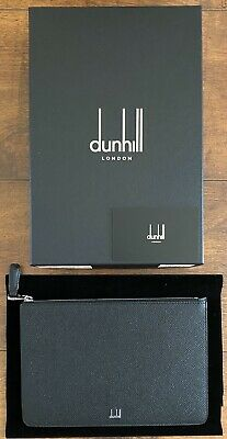 Bnwb Dunhill Cadogan Xs Zip Folio Black Leather Made In Italy