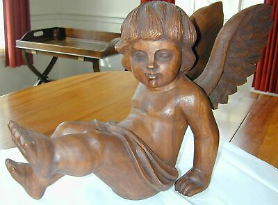 Lg Hand Carved Wooden Sitting Angel/Cherub w Removable Wings