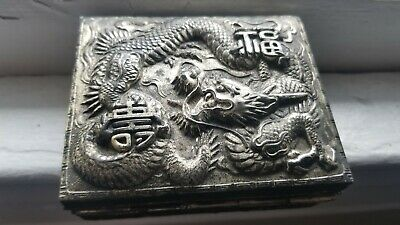 Vintage Asian Chinese Dragon Silver Tone Metal Wood Hinged Cigarette Trinket Box