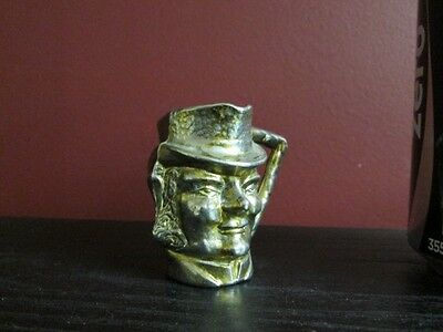 Antique Doll House MINIATURE GOLD TONE SPELTER Character HEAD JUG BEER PITCHER!