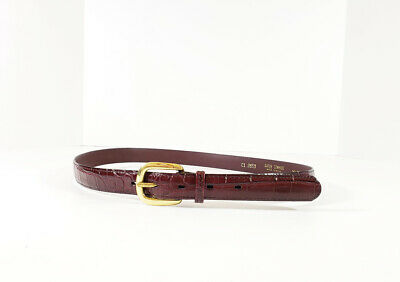 Vintage 80s Belt Burgundy Gator Cowhide Solid Brass Buckle Misses 36