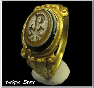 ** CHI-RHO ** Ancient LEGIONARY Gold Roman Intaglio Ring ** AMAZING **