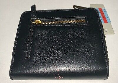 New Fossil Women's Mini Emma Rfid Multifunction Leather Wallet Black With Defect