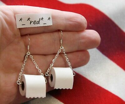ORIGINAL USA Sterling Silver TOILET PAPER Roll EARRINGS Hook Polymer Clay Wire