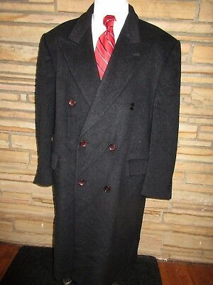 Vito Rufolo 100% Cashmere Dress Coat Charcoal Gray Double Breasted Sz 48 R
