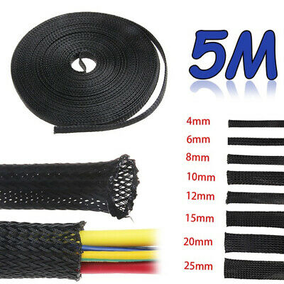 Black PET Expandable Tight Protection Cable Insulation Braid Sleeving Wire