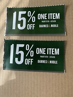 2 Barnes & Noble 15% Off Of One Item Expires December 31, 2020