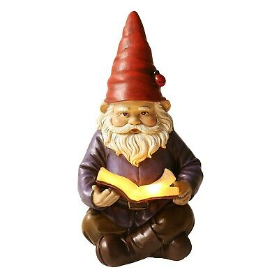 Lighted Reading Gnome - Solar LED Light Garden Statue Lawn Ornament Yard Decor