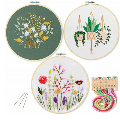 DIY Stamped Embroidery Starter Kit Embroidery Cloth Color Threads Tools Kit
