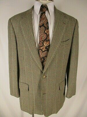 Brooks Brothers Mens Beige Houndstooth 2 Btn Tweed Blazer 41L USA Made