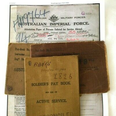 Wwi Australian Aif Active Service 3 Pay Books Queenslander Military Medal