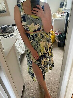 Topshop Green Leaf Print Crop Top Midi Skirt Co-ord Matching Set Size 8 10 Small