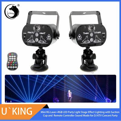2PCS Laser Stage Lighting Effect RGB LED Projector Patterns Light Show + Remote