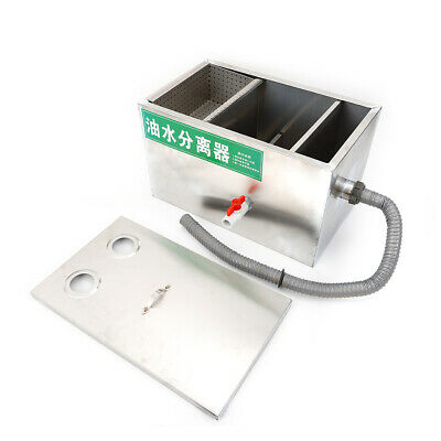 """2"""" Grease Oil Trap Interceptor Stainless Oil-water Separator 6.6L Grease Trap"""