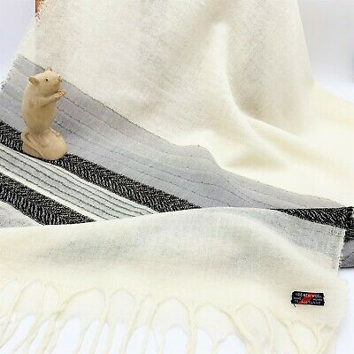 Women's Vintage Scottish Hand Woven Pure Wool Scarf Wrap, Winter-White 60x168cm