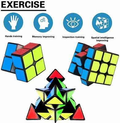 Speed Cube Set 2x2 3x3 Pyramid 3D Puzzle Magic Cube Kids Adults Fun Gift Toy