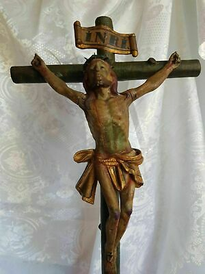 Large and rare polychrome carved wood Crucifix - 18th century
