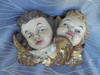Antique Carved Angel/ Cherub Faces Wall Hanging